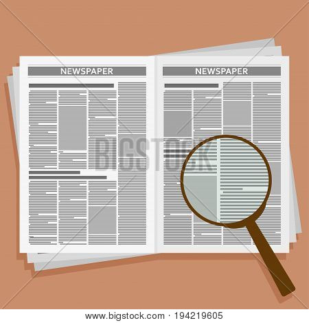Open newspaper with loupe. Vector flat illustration.