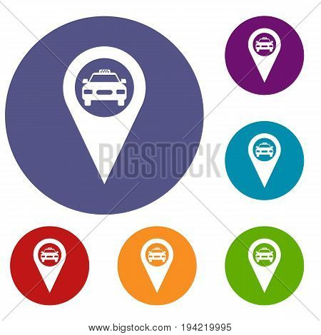 Geo taxi icons set in flat circle reb, blue and green color for web