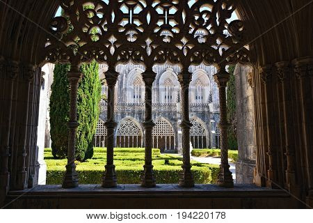 Portugal Batalha - June 4 2017:  Monastery of Santa Maria da Vitoria and better known to us all as da Batalha Monastery one of the most beautiful works of Portuguese and European architecture as well as one of the most important monuments of the Portugues