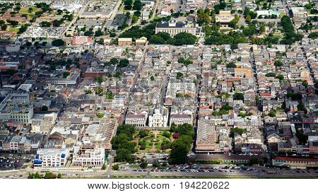 Aerial View Of French Quarter, New Orleans, Louisiana