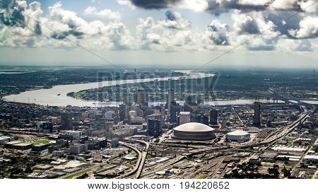 Aerial view of Mississippi river and Downtown New Orleans Louisiana