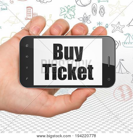 Vacation concept: Hand Holding Smartphone with  black text Buy Ticket on display,  Hand Drawn Vacation Icons background, 3D rendering