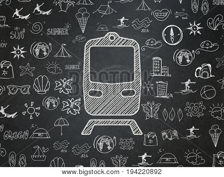 Tourism concept: Chalk White Train icon on School board background with  Hand Drawn Vacation Icons, School Board
