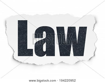 Law concept: Painted black text Law on Torn Paper background with Scheme Of Hand Drawn Law Icons