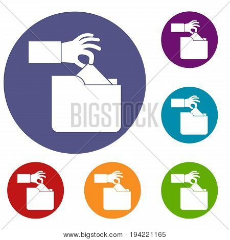 Robbery secret data in folder icons set in flat circle reb, blue and green color for web