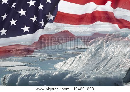 Melting glaciers with United States national flag