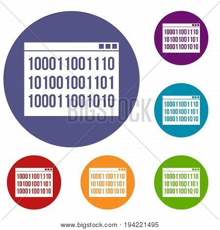 Binary code icons set in flat circle reb, blue and green color for web