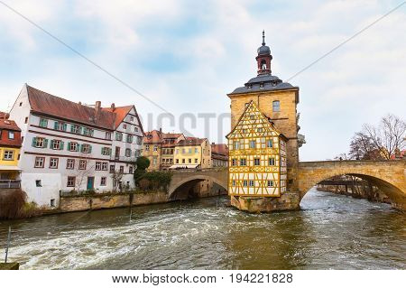 Icon of Bamberg Obere bridge or brucke and Altes Rathaus town hall, Germany