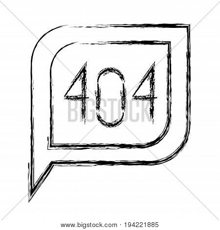 monochrome blurred silhouette dialogue square with tail with 404 not found symbol vector illustration