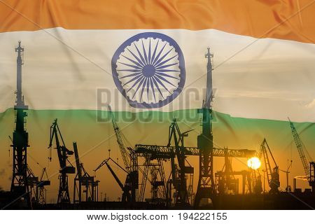 Industrial Concept With India Flag At Sunset