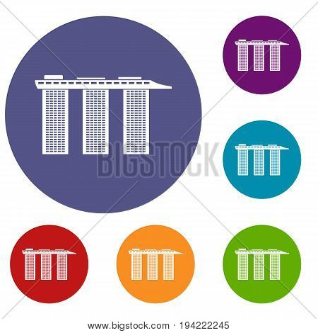Marina Bay Sands Hotel, Singapore icons set in flat circle reb, blue and green color for web