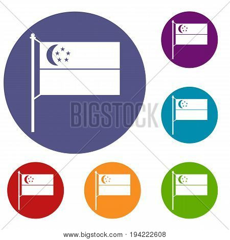 Flag of Singapore icons set in flat circle reb, blue and green color for web