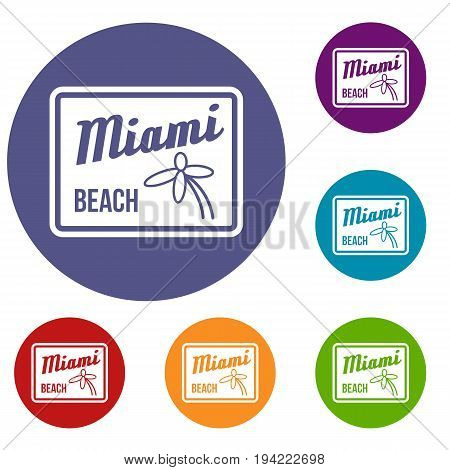 Miami beach icons set in flat circle reb, blue and green color for web