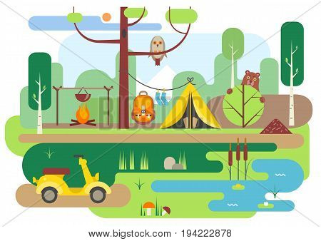 Vector flat illustration of summer camping. Campground in the forest. For posters web templates.