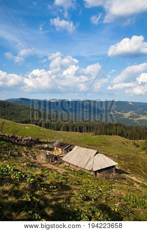Wooden shepherds' houses in the Ukrainian Carpathians. Summer landscape.