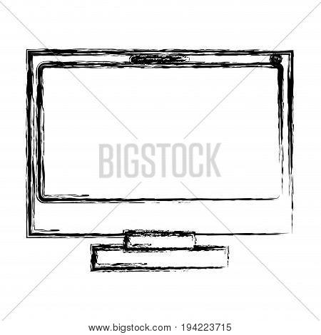 monochrome blurred silhouette of lcd monitor vector illustration