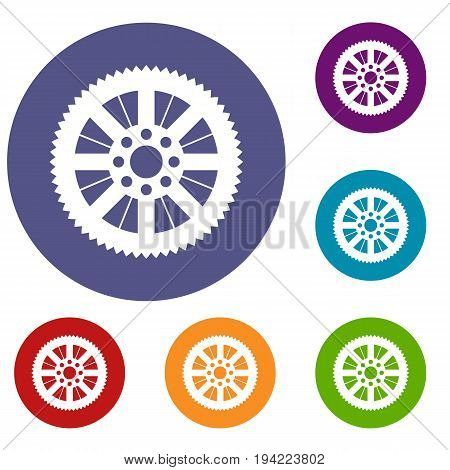 Sprocket from bike icons set in flat circle reb, blue and green color for web