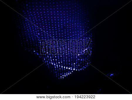 3D human head in polygonal mesh (3D grid). Computer simulation. Body scanning. Human body model.