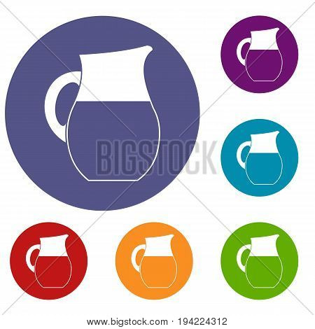 Pitcher of milk icons set in flat circle reb, blue and green color for web