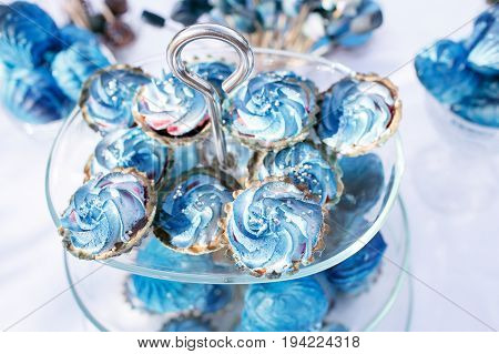 Delicious wedding reception candy bar dessert table. Blue desserts. The theme of the festival - space, stars and galaxies