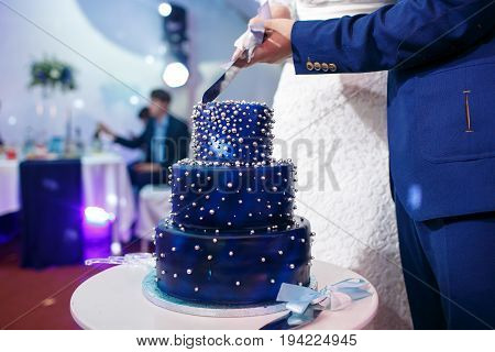 Bride and groom cut blue wedding cake. dessert for wedding party. with blueberries, biscuits, blue chocolate glaze. cake on stand, selective focus. the concept of space. Beads like stars on dark blue