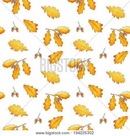 Seamless Pattern With Autumn Oak Leaves And Acorns