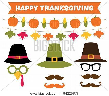 Thanksgiving party banners and pilgrim hats set