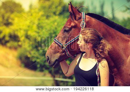 Jockey Young Girl Petting And Hugging Brown Horse