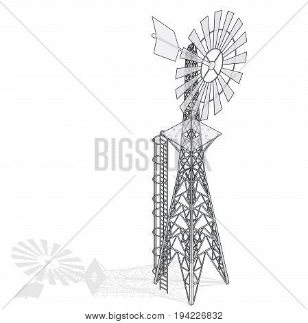 Wind pump for pumping of water on farm. Outlined home wind power plant for power generation. Technical industrial agriculture building with metal construction. Wire vector windmill illustration.
