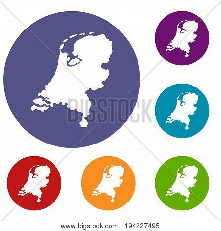 Holland map icons set in flat circle reb, blue and green color for web