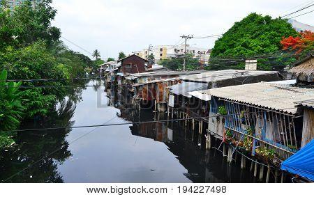 Chaeng wattana district, Bangkok - April 2017. The local Bangkok district on the river