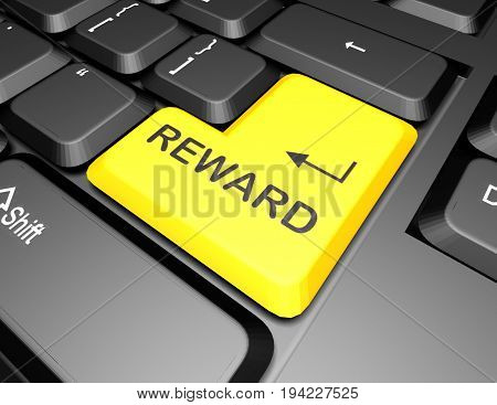 keyboard with reward button . 3d rendered illustration