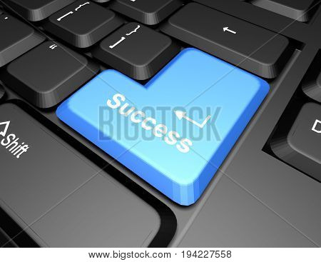 keyboard with success button . 3d rendered illustration