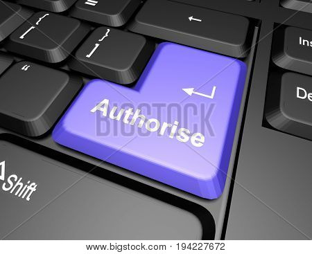 keyboard with authorise button . 3d rendered illustration