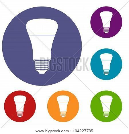 Led bulb icons set in flat circle reb, blue and green color for web