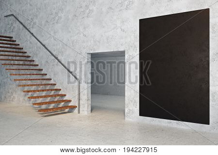 Side view of concrete room interior with copy space on empty chalkboard banner stairs and doorway. Success concept. Mock up 3D Rendering
