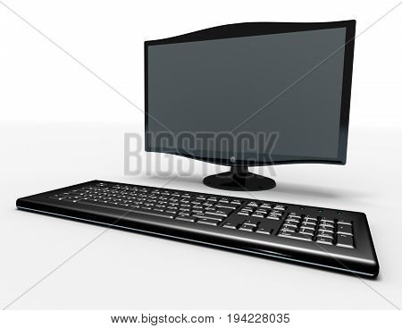 keyboard and monitor , 3d rendered illustration