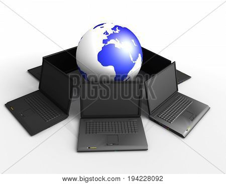 3d laptop and earth , 3d rendered illustration