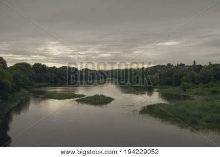 Cloudy morning over the river Hoper in the city of Balashov.