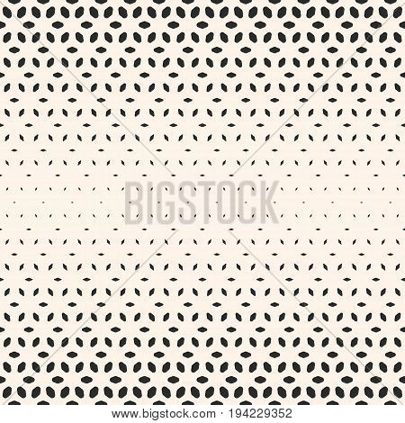 Halftone pattern. Vector monochrome texture. Seamless pattern. Gradient transition effect. Geometric background with different sized rounded shapes, floral figures, falling petals. Modern abstract design.