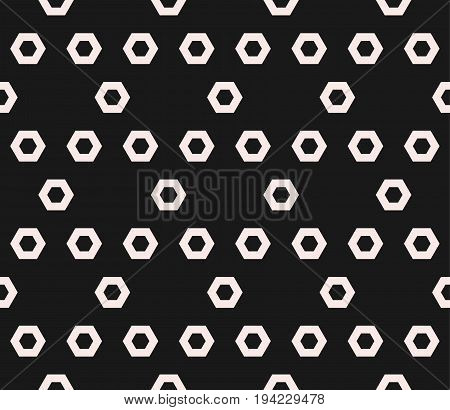 Hexagon texture, vector monochrome seamless pattern with perforated hex shapes in hexagonal grid. Abstract dark geometric background. Symmetric repeat design for prints, covers, decor, digital, cloth.