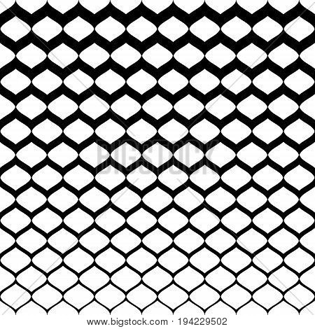 Halftone seamless pattern. Monochrome texture with gradient transition effect from black to white. Illustration of mesh with gradually thickness. Abstract background. Design for prints, covers.