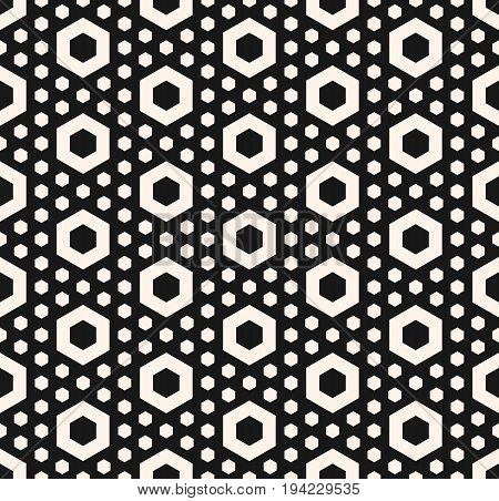 Vector hexagonal texture. Geometric seamless pattern with perforated hexagon shapes, simple figures. Abstract endless background. Stylish dark design element for prints, fabric, decoration, covers.