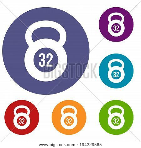 Kettlebell 32 kg icons set in flat circle reb, blue and green color for web