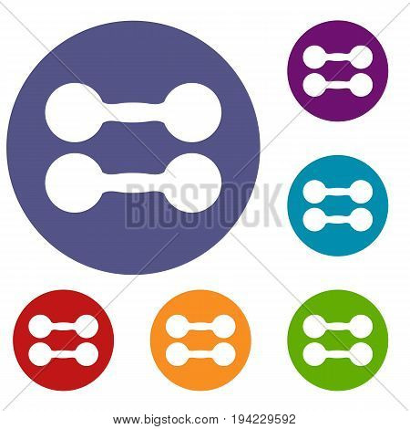 Pair of dumbbells icons set in flat circle reb, blue and green color for web
