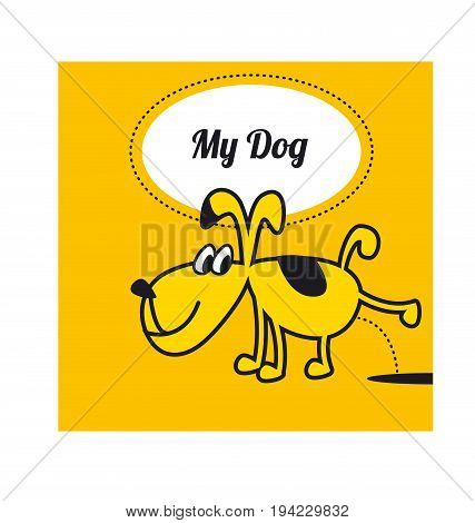 funny dog piss a puddle. little home animal concept poster. cute pet childish vector illustration