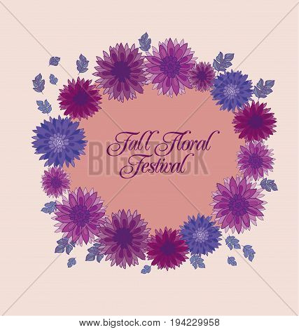 chrysanthemum flower header design element.  aster floral decorative vector illustration. fall blossom in violet colors motif. autumn flowers rustic peasant style template