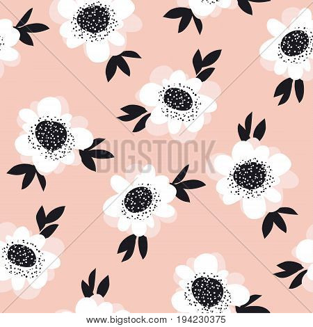 pale color abstract rose flowers seamless pattern. vector sketch illustration