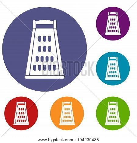 Kitchen grater icons set in flat circle reb, blue and green color for web