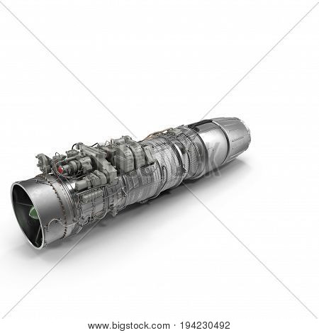 Turbofan Engine on white background. 3D illustration